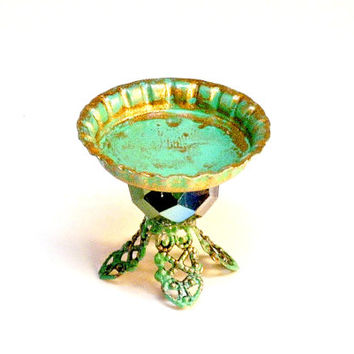 Miniature Weathered Copper Dessert Tray Fairy Garden Dollhouse Cake Stand
