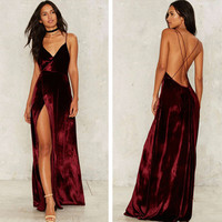 Fashion Solid Color Velvet V-Neck Sleeveless Backless Crisscross Strap Split Maxi Dress