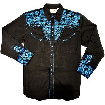 Scully Western Blue Black Long Sleeve Shirt