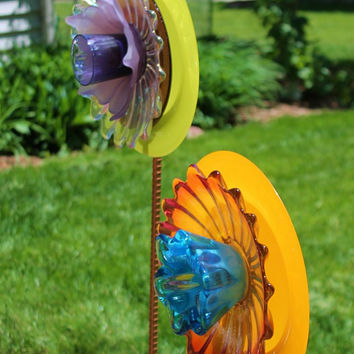 "SALE Orange Aqua Magenta Glass Flower Suncatcher / Blue Ram Blooms / ""Tequila Sunrise"" Boho Chic Indoor Outdoor Art  / Autumn Garden"