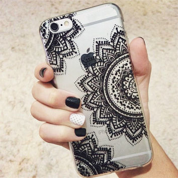 Vintage Coloful Mandala Henna Dreamcatcher Floral Clear Back Case for iphone 6 6 S Soft TPU Phone Case