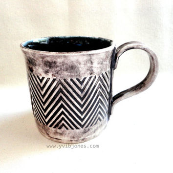 Midnight Blue Chevron Coffee Mug, Large Ceramic Tea Cup, 16 oz, hand crafted
