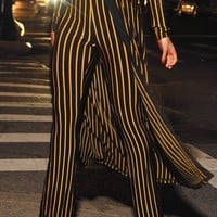 Kora Jacquard Gold Stripe Flared Bandage Pants