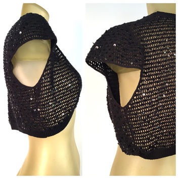 Sequined Black Bolero Sweater Vintage BCBG Silk Cotton Blend Cap Sleeve See Through Black Formal Evening Shrug Open Cropped Cardigan Sweater