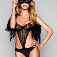 Victoria's Secret Sexy Little Things Dark Naughty Angel Outfit Costume Fantasy Size M