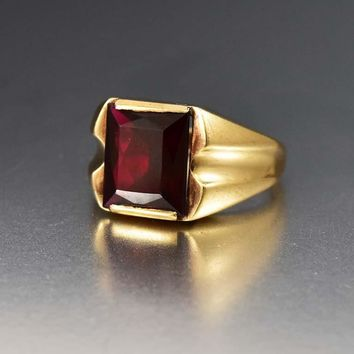 Bold Mens Art Deco Gold and Ruby Signet Ring