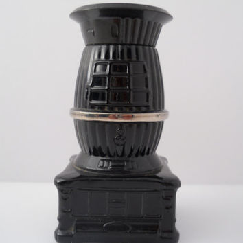 Avon Bottle Black Glass Pot Belly Stove Plastic Lid c 1970s