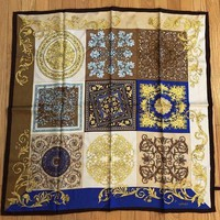 Auth Versace Baroque Yellow Brown Blue 100% Silk Scarf