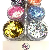 6Pack Chunk Body and Face Festival Glitter (Large 15 Grams a Bottle)