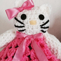 Free shipping USA, Amigurumi  hello kitty, lovey security blanket for baby,