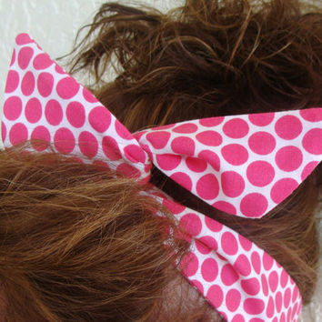Dolly Bow, Hot Pink Polka Dots Rockabilly Pin up Teen Girl Woman Flexible Wire Headband J2107M02 D
