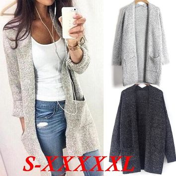 Grey Women Cardigan Autumn Long Sleeve Casual Loose Knitted Sweater Coat Outwear Plus Size S-5XL