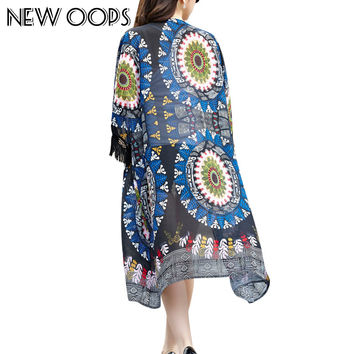 NEW OOPS  Summer Gypsy Ethnic Style Retro Fringes Tassel Long Cardigans Kimono Cover Tribal Prints Boho Chiffon Shawl A1506130