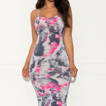 Put Together Tie Dye Dress - Grey/Hot Pink