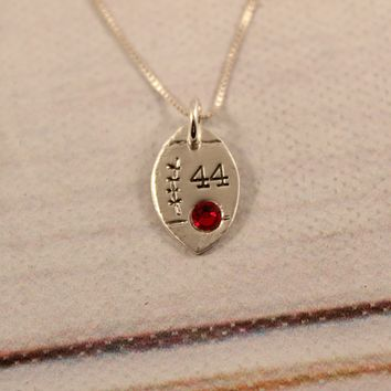 Football with Number and Crystal Sterling Silver Charm Necklace