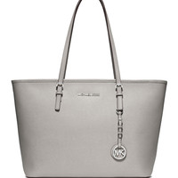 Jet Set Saffiano Travel Tote Bag, Pearl Gray - MICHAEL Michael Kors