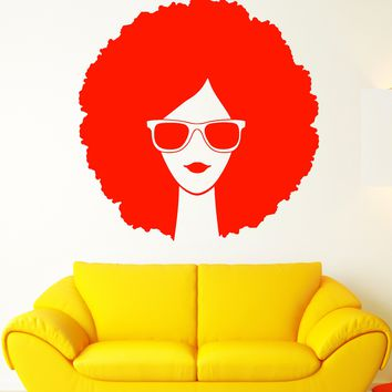 Vinyl Wall Decal Girl In Sunglasses Afro Hairstyle Frizz Stickers Unique Gift (1945ig)