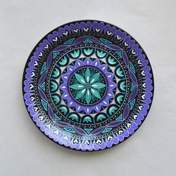 Hand painted plate - Wall hangings - Mandala art - Wall plate - Decorative plates - Point-to-point - Oriental decor - Christmas gift