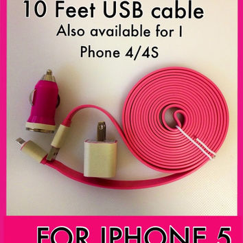 Glow in the dark XXL large flat noodle I phone 4/4S I phone 5 charger 10 Feet Yes 3 Meters