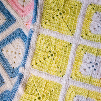 Multi-Colored Handmade Crocheted Baby Afghan