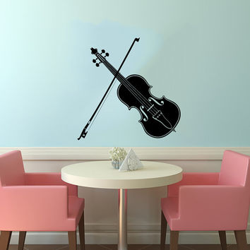 Violin and Bow Musical Instrument Housewares Wall Vinyl Decal Sticker Art Design Modern Interior Decor Bedroom Recording Music Studio SV4117