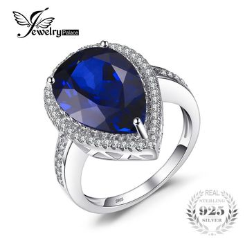 JewelryPalace Charm 7ct Water Drop Cut Created Sapphire Ring For Women Party Pure 925 Sterling Solid Silver Luxury Jewelry