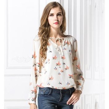 2018 Spring New Arrival Women Colorful Birds Print Chiffon Blouses Female Casual Loose Neck Laced Up Shirts Girls Fashion Tops