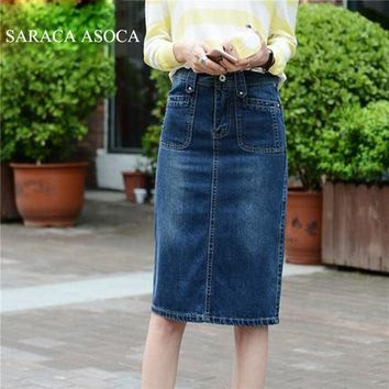 Fashion High Waist Knee-Length Jean Skirt For Girl Blue Pockets Denim Pencil Soild Skirt Women