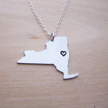 Hand Stamped Heart New York State Sterling Silver Necklace / Gift for Her