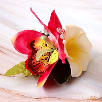 Red Paradise Hawaiian Flower Hair Clip