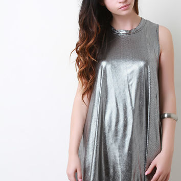 Metallic Trapeze Mini Dress