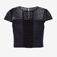 LACE AND MESH PANELLED TOP - Navy | Tops & T-shirts | Ted Baker UK