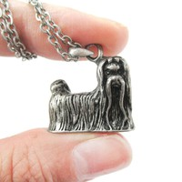 Realistic Long Haired Maltese Puppy Dog Shaped Pendant Necklace in Silver
