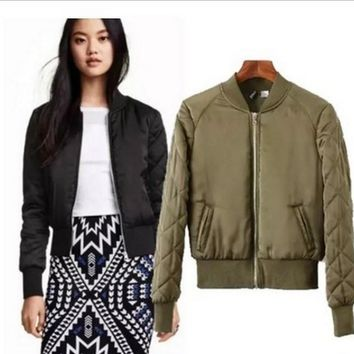 women basic coats quilting Cotton Bomber Jacket  women Quilted Zipper Casual Padded Outwear Vintage Zip Up Biker Coat Stylish