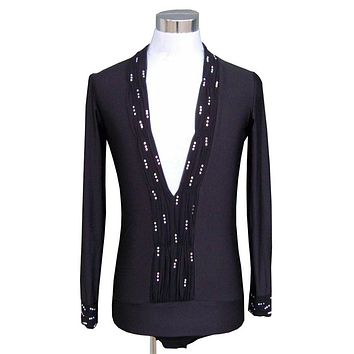 black,blue,white Rhinestone Men ballroom Latin body shirt rhinestone long sleeve V neck