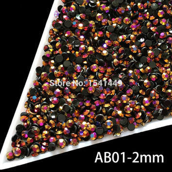 1000pcs package DIY Nail art Jelly resin gold rose laser green Crystal ss6 Rhinestones AB 2mm Flatback Rhinestones crystal