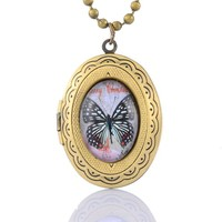 Encounter Black Butterfly Glass Cabochon on Oval Antique Bronze Photo Locket Pendant Ball Chain Necklace