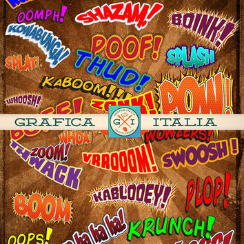 Comic Book Action Words - Set of 34 Printable Super Hero Sayings - Digital Download Clip Art - Superhero Clipart Design Elements Supplies