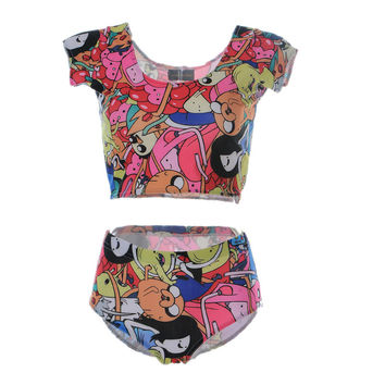 2016 3 Patterns Adventure Time Women's Twop Piece Swimsuits Short  Sleeve Crop Tops+ Short Orange Colorful Black Bodycon Suits