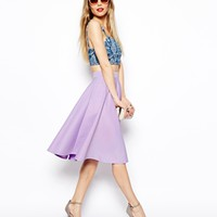 ASOS Full Midi Skirt In Scuba With Pockets - Lavender