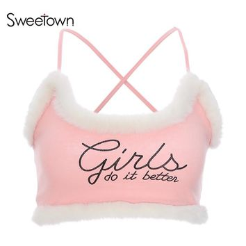 Sweetown Sexy Feathers Skinny Pink Tank Top Female Streetwear Knitted Crop Top 2018 Casual Summer Letter Camis Vestido De Festa