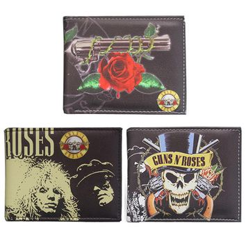 Rock Band GUNS N ROSES wallet Women's Men's Purse Wallet Money Bag coin purses holders Leather Wallets 3 style