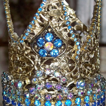 Handmade statue crown ornate French Nordic inspired multi colored rhinestone home decor piece anita spero