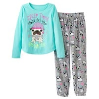 SO ''Sleep Tight'' Pug Fleece Pajama Set - Girls