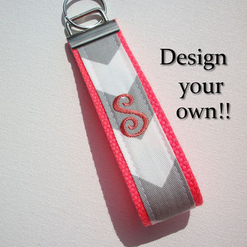 Key FOB / KeyChain / Wristlet  - initial monogram on your choice of chevron preppy -  custom coral gray