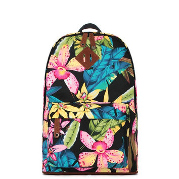 Women's Lightweight Fashion Floral Print Canvas Backpack Daypack