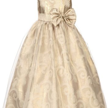 Metallic Gold & Paisley Jacquard with Organza Overlay Girls Occasion Dress (Sizes 2T - 12)