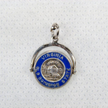 Virginia Sterling Spinner Charm, Old Dominion, Enamel Charm, Movable Charm, Vintage Charm for Charm Bracelet, Travel Charm, Blue Enamel