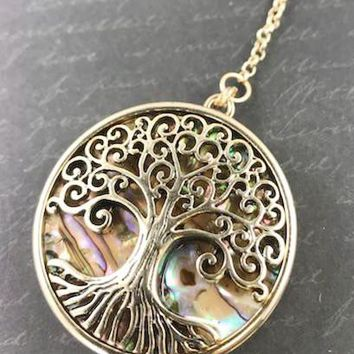 Abalone Shell Tree of Life Locket Pendant/Necklace - Antique Gold Tone