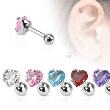 Heart Gem Cartilage Barbell